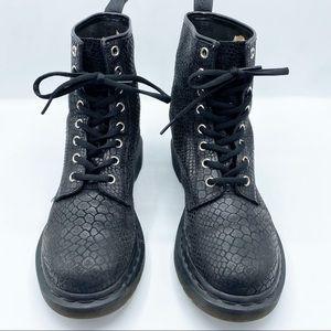 Dr. Martens 1460 Black Snake Embossed Boots Size 8